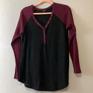 Torrid purple and black thermal long sleeve shirt